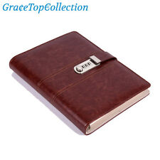 A5 Vintage Wine Red Leather Loose Leaf Lined Journal Password code Lock Notebook