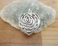 925 Sterling Silver - Lovely Carved Heart Shaped Locket Pendant - 22mm Height