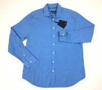 BUGATCHI Men's Sport Shirt Long Sleeve Shaped Fit Solid Blue Size XL NWT $149