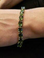 LOVELY 20.48 CT CREATED EMERALD 925 STERLING SILVER TENNIS BRACELET 7IN