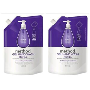 2X Method Gel Hand Soap Wash Refill Naturally Derived French Lavender 34 oz each