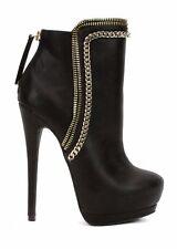 bebe Oliviaa Chain Zipper Boots Black High Heel Booties 6