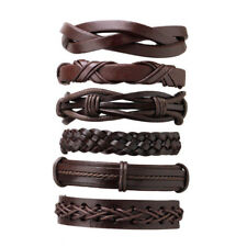 6 Fashion Mens Women Punk Leather Bracelet Braided Wristband Cuff Wrap Bangle US