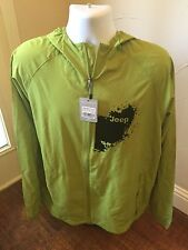 Jeep Kinney Packable Jacket XL Lime Green Hoodie Water Repellent Back Vent Light