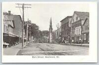Westbrook Maine~Main Street Market~Window Shoppers~Trolley~Sidewalk Vendor~1905