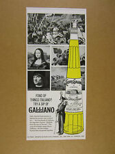 1963 Galliano Liqueur mona lisa italian paintings bottle art vintage print Ad