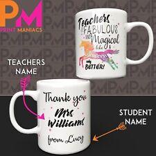 Thank You Personalised unicorn Teacher Mug End of Term Leaving Gift Present xmas