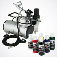 New Airbrush Kit 6 Primary Colors Air Compressor Dual-Action Createx Hobby Set