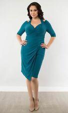 Kiyonna Plus Size Cocktail Party Dress 3X Blue Foxfire Style Faux Wrap