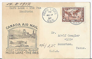 1937 Canada FFC Herb Lake to The Pas - Addressed to Bomarton TX Ghost Town RARE