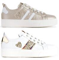 NERO GIARDINI TEEN P930910F scarpe donna sneakers pelle zeppa stringhe casual