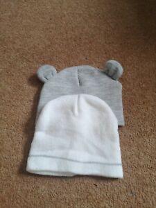 Baby Unisex Primark Winter Hats Grey And White 6-12 Months