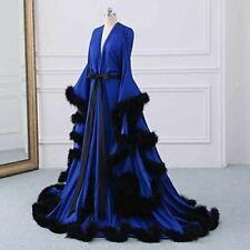 Blue Night Robe Long Sleeve Feathers Party Sleepwear Nightgown Robes Custom Made
