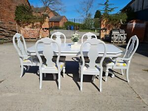 French Inspired Extending Table and 6 Chairs ~ Farrow & Ball