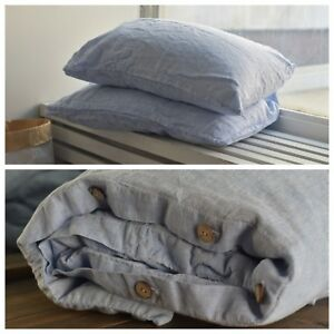 DUVET COVER set & pillow with envelope closures melange blue Stone Washed