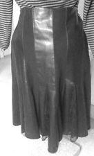 DZYN Black Faux Vegan LEATHER PU FLARED SKIRT M uk16eu42us12 Waist w31ins w79cm