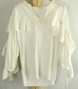 Renaissance Pirate Peasant Wench Festival Poet Victorian Blouse Shirt Size L