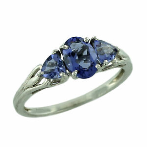 Blue Tanzanite Gemstone Jewelry 10k White Gold Ring | A Precious Gift for Her