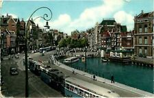 Postcard Trolley Cars & Canal, Amsterdam, Netherlands - used in 1957