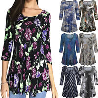 Fashion Women's Floral Print Shirts 3/4 Sleeves O-Neck Tunic Blouse Tops Shirt