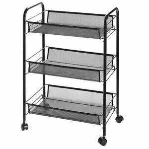 Clearance!3-Tier Utility Cart, Metal Mesh Rolling Storage Cart Kitchen Storage C