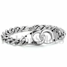 Mens Silver Tone Stainless Steel Handcuff Buckle Wristband Bracelet Chain Link