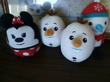 "4-Disney Hallmark FLUFFBALLS Minnie Mouse, Olaf & Snowman. 6""  NEW WITH TAGS!"