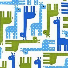Robert Kaufman Fabric - Blue Giraffes - Urban Zoologie - Cotton