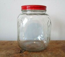 Canister Jar Vintage Clear Glass Square Hoosier Kitchen Storage Red Tin Lid