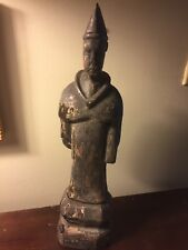 "Antique Hand Carved Santos Spanish Wood Religous Saint Church Statue 16"" Tall"