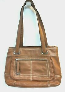 Tignanello Brown Pebbled Leather Shoulder Purse Hobo Bag