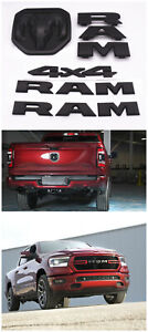 5PCS Kit Matte Black 2019-2021 RAM Door Nameplate + 4X4 + Front + Rear Emblem