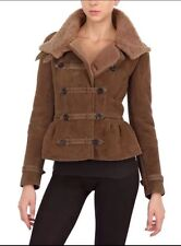 Authentic BURBERRY PRORSUM Brown Leather SHEARLING PEPLUM JACKET Sz.40
