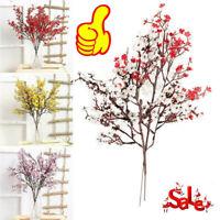 Red Autumn Wedding Artificial Decor Gypsophila Silk Babies Flowers Fake V6M1