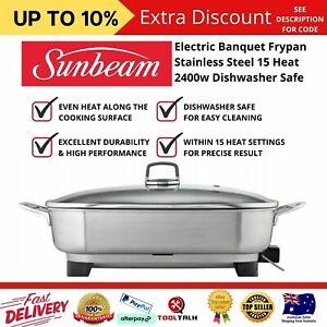Sunbeam Electric Banquet Frypan Stainless Steel 15 Heat 2400w Dishwasher Safe