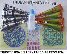 Henna cone Tattoo kit 4 Black +4 Brown +Applicator Stencil nail Sticker USA SHIP