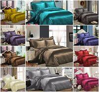 Top Quality SATIN 6 Pcs Bed Set set inc Duvet Cover + Fitted Sheet+4 Pillow Case