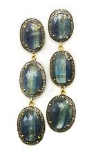 Blue Kyanite Champagne Diamond Earrings 14k Gold Triple Long 3 Inch Stud Post