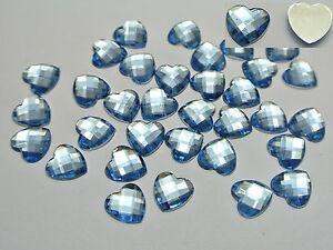 """100 Acrylic Faceted Heart Flatback Rhinestone Gems 12X12mm(1/2"""") Colour Choice"""