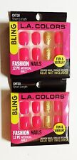 L.A. COLORS BLING *2 PACK* 24 PC Artificial FASHION NAILS Press Glue On SHORT