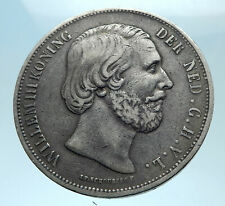 1870 NETHERLANDS Wilhelm III Antique Genuine Silver 2 1/2 Gulden Coin i77948