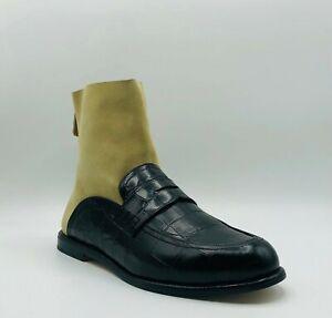 $890 Loewe Men's Black Embossed Crocodile Suede Sock Boot 41/US 8 453170071206