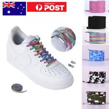 1x NO tie metal lock elastic sneaker runner flat shoelaces OSFM shoes -Aus Stock