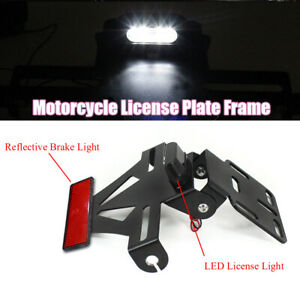 Adjustable White LED Light License Plate Frame With Red Reflective Stop Lamp 1PC