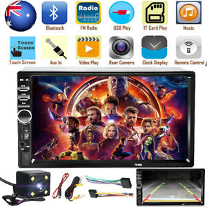 7'' MP5 Player Car Head Unit Stereo Speakers Double Din bluetooth Reverse Camera
