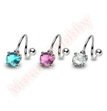 14G Round CZ Spiral Twist Barbell Belly Navel Ring Body Piercing Jewellery