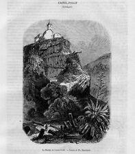 Stampa antica CASTELLFOLLIT de la ROCA Catalogna 1853 Grabado Antiguo Old Print