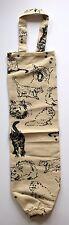 Cat Fabric Plastic Grocery Bag Holder Dispenser | Cotton | Beige