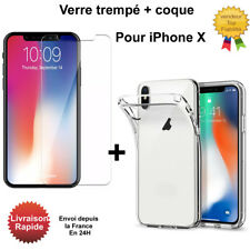 COQUE ETUI IPHONE X TRANSPARENT + VITRE  PROTECTION EN VERRE TREMPE iPhoneX
