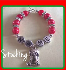 """Personalised """"Christmas Stocking"""" Wine Glass Charm, Handmade with Rondelle's"""